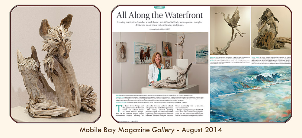"Thumbnail image linked to Alabama writer and photographer Adrian Hoff's Gallery article profiling Claudia Hodges: ""All Along the Waterfront — Drawing inspiration from her seaside home, artist Claudia Hodges manipulates mangled driftwood into a bounty of enchanting sculptures."" Published in PMT Publishing's Mobile Bay Magazine, August 2014"
