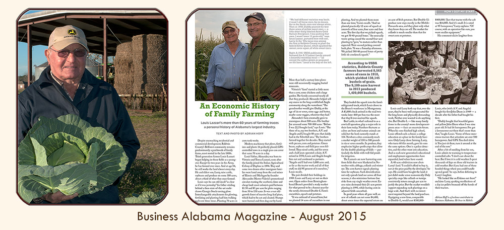 "Thumbnail image linked to Alabama writer and photographer Adrian Hoff's feature article, ""An Economic History of Family Farming,"" published in Business Alabama magazine, August 2015."