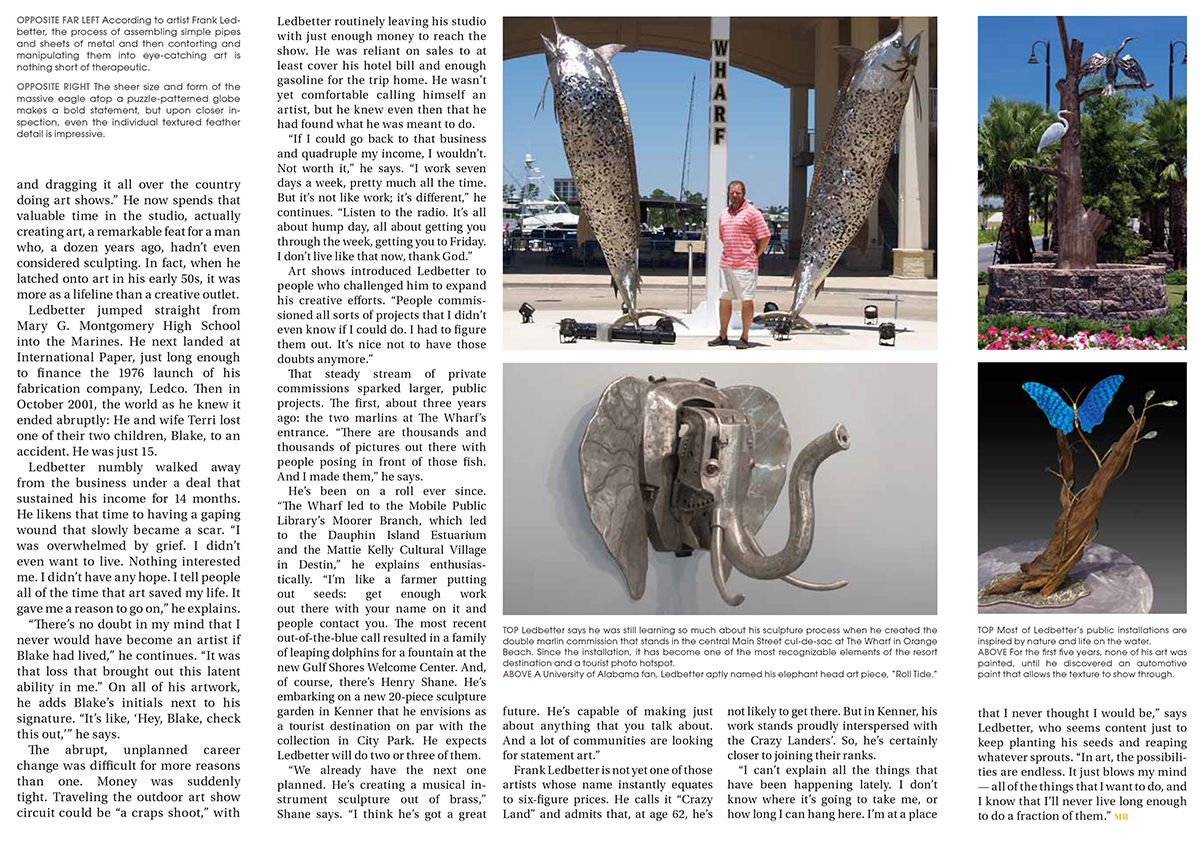 Alabama arts writer and photographer Adrian Hoff, September 2015 Gallery, Mobile Bay Magazine: Frank Ledbetter / Flying Sparks, page 1