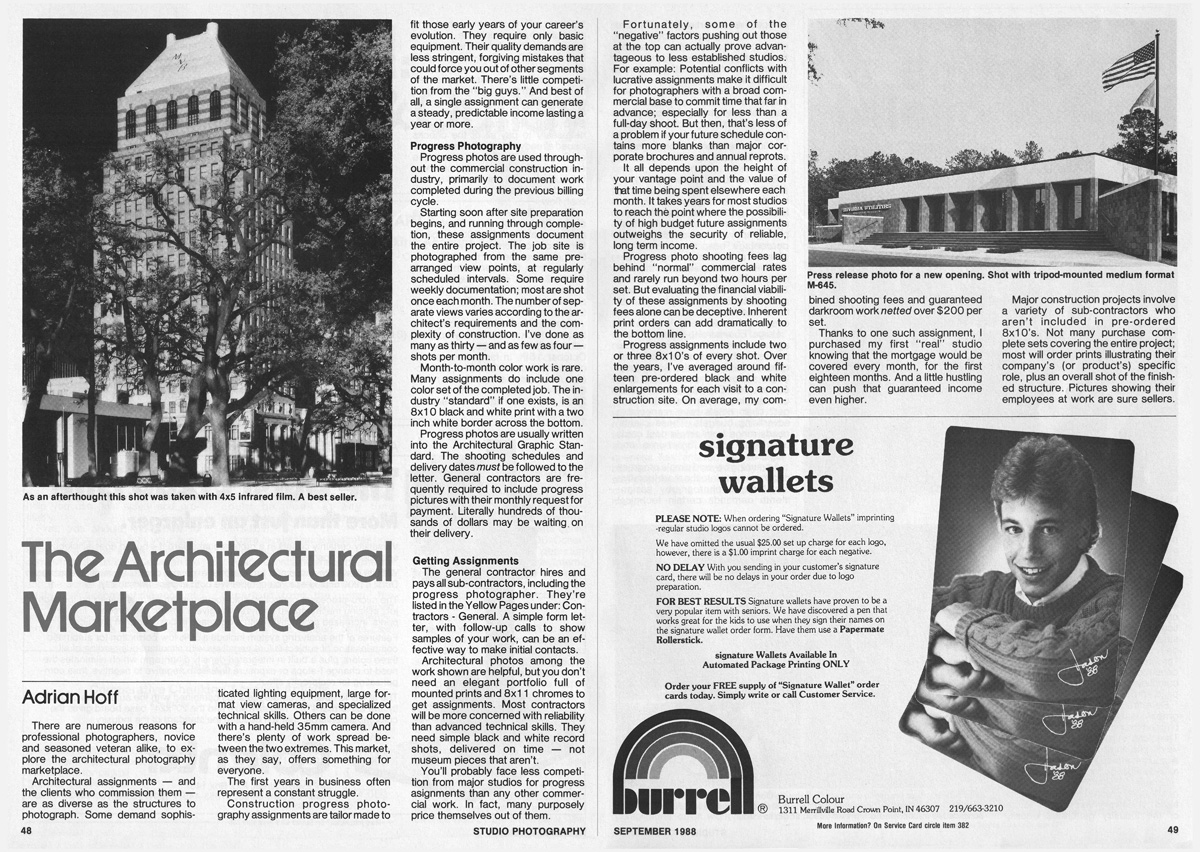 Studio Photography Magazine, September	1988: The Architectural Marketplace (pages1-2)