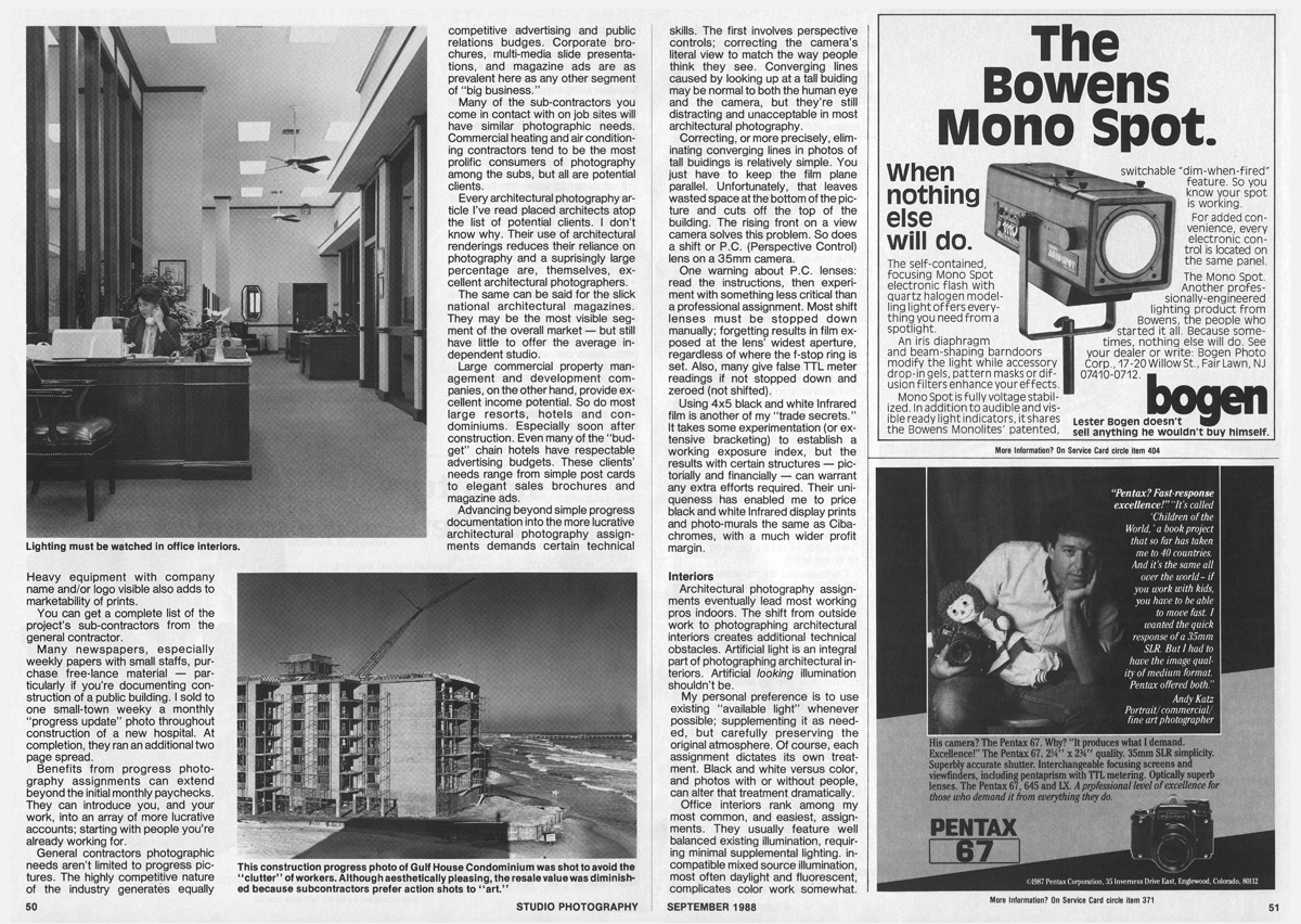 Studio Photography Magazine, September	1988: The Architectural Marketplace (pages 3-4)