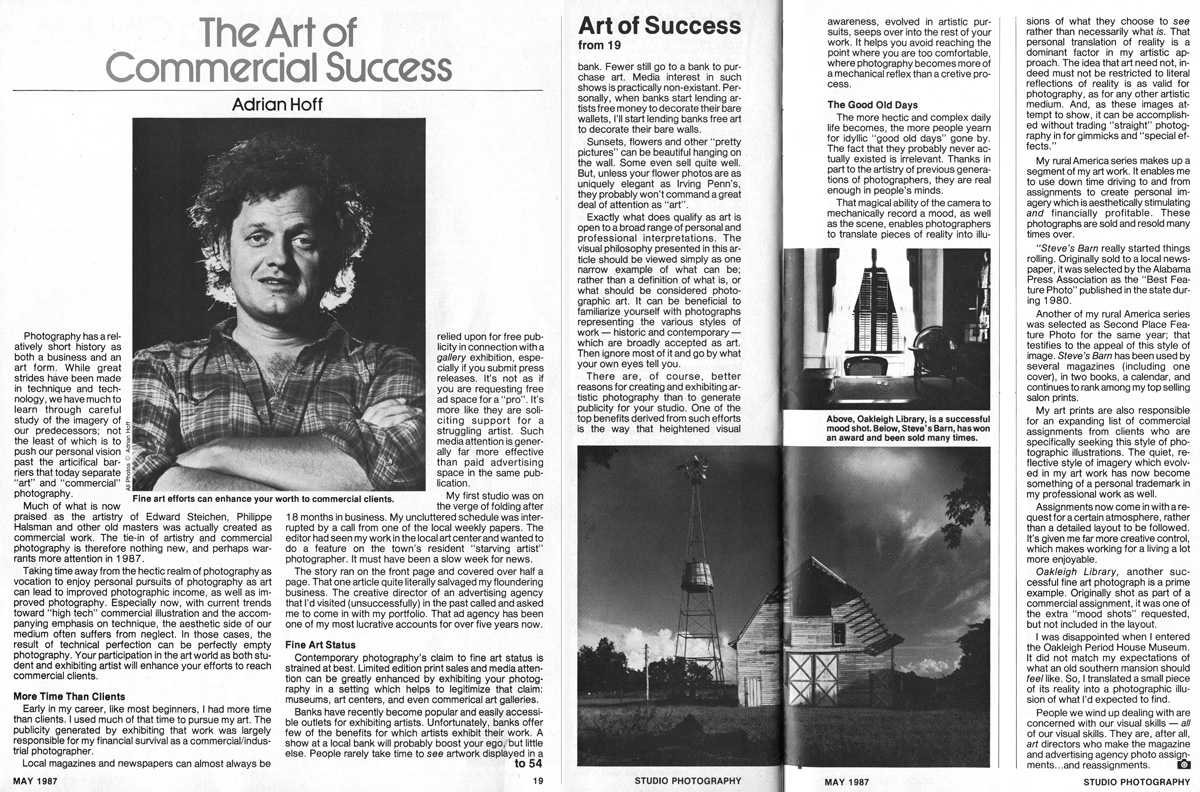 Studio Photography Magazine, December	1987: The Art of Commercial Success.