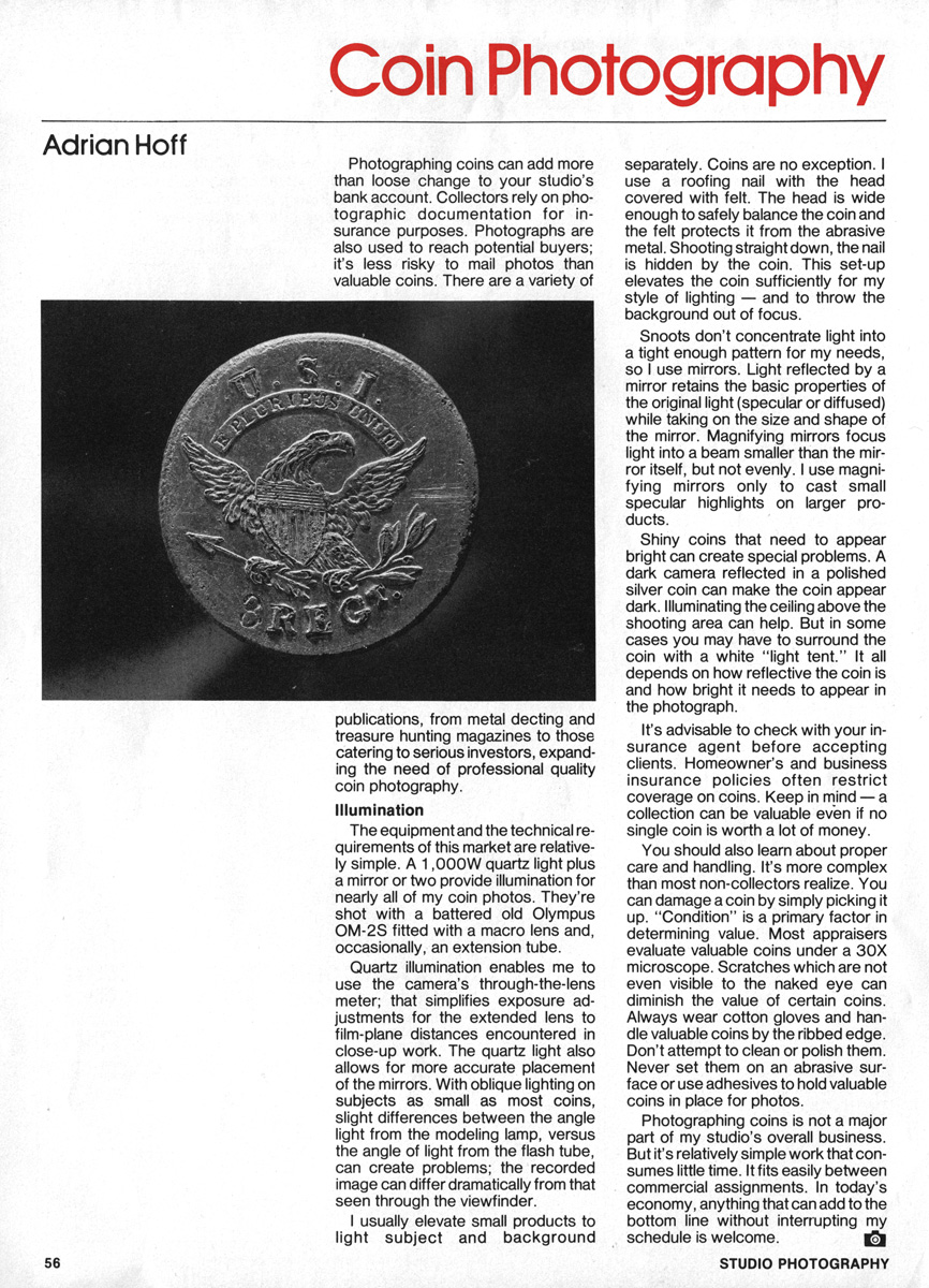 Studio Photography Magazine, May 1988: Coin Photography.