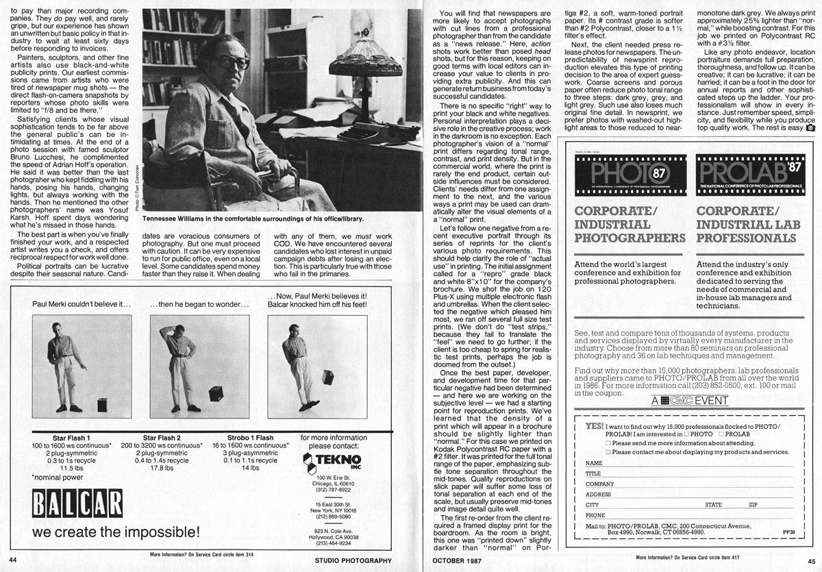 Studio Photography Magazine, October	1987: Location Portraiture (pages 4-5)