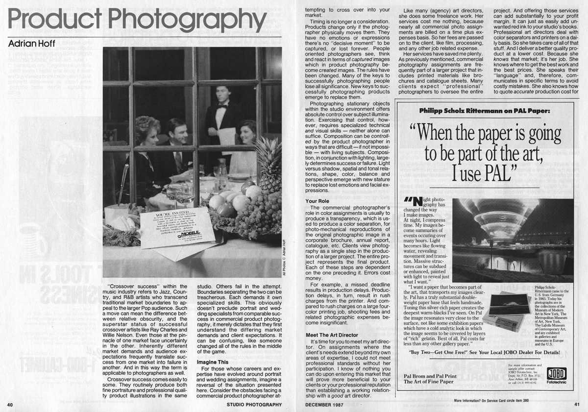 Studio Photography Magazine, December	1987: Product Photography (pages 1-2)