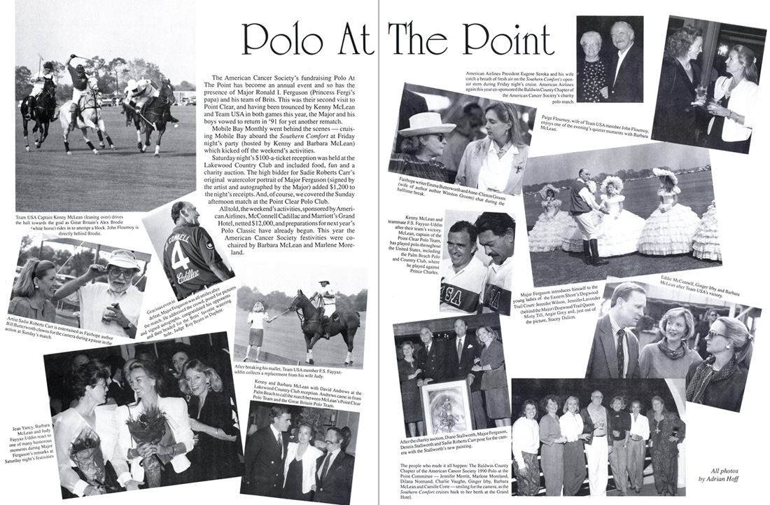 Mobile Bay Monthly. December	1990. Polo at the Point. Text and photos by Adrian Hoff.